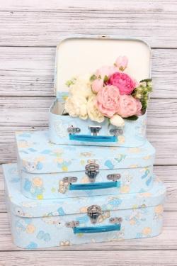 Набор подарочных коробок из 3шт- Чемодан Карапузы голубой 34*24*9см Т421