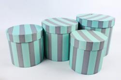 Набор подарочных коробок из 4шт -  Цилиндр №16 Полосы серо/зеленые   Пин16ПШСЗ