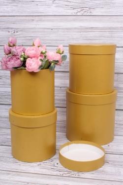 Набор подарочных коробок из 4шт -  Цилиндр №16 Золото КТ 20*20см Пин16ПЗ
