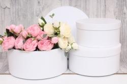 """Набор подарочных коробок из 3шт -   ЦИЛИНДР """"Белый """" 25,2*11,5 см SY2245-417"""