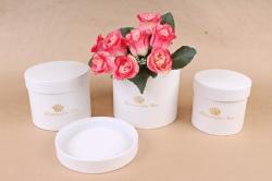 Набор подарочных коробок из 3шт- Цилиндр белый  D33