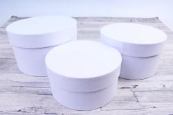 Набор подарочных коробок из 3шт -  Цилиндр Белый №18    Пин18-Б