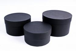 Набор подарочных коробок из 3шт -  Цилиндр Чёрный №18    Пин18-Ч