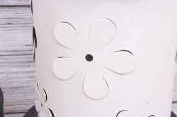 Набор подарочных коробок из 3шт- Цилиндр Цветы объемные белый  d=18, h=22см Т413
