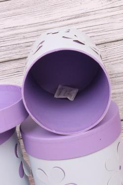 Набор подарочных коробок из 3шт- Цилиндр Цветы объемные голубой  d=18, h=22см Т413