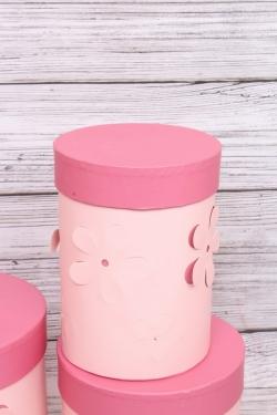 Набор подарочных коробок из 3шт- Цилиндр Цветы объемные розовый  d=18, h=22см Т413