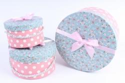 Набор подарочных коробок из 3шт- Цилиндр голубая крышка/белый горох на розовом К48