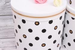 Набор подарочных коробок из 3шт- Цилиндр Горох белый d=24, h=26см Т428