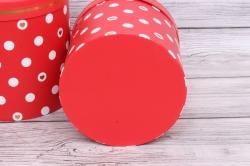 Набор подарочных коробок из 3шт- Цилиндр Горох красный d=24, h=26см Т428