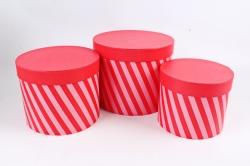 Набор подарочных коробок из 3шт- -Цилиндр косая полоска красный К694