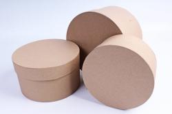 Набор подарочных коробок из 3шт -  Цилиндр КРАФТ №18     Пин18-К