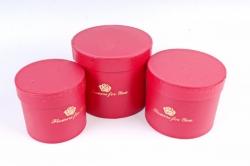 Набор подарочных коробок из 3шт- Цилиндр красный   D33