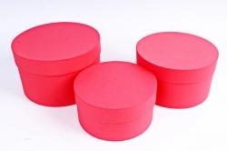 Набор подарочных коробок из 3шт -  Цилиндр Красный №18    Пин18-КР