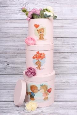 Набор подарочных коробок из 3шт- Цилиндр Медвежата розовый  d=18.5, h=18.5 см К206