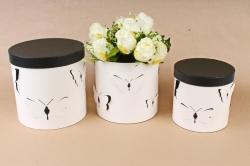 Набор подарочных коробок из 3шт- Цилиндр объемные бабочки бело/черный   D12