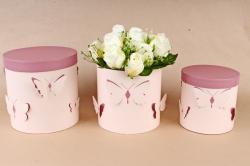 Набор подарочных коробок из 3шт- Цилиндр объемные бабочки пудра/крем   D12