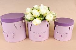 Набор подарочных коробок из 3шт- Цилиндр объемные бабочки сирень D12
