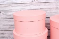 Набор подарочных коробок из 5шт- Цилиндр однотонный розовый  d=32, h=20см Т416