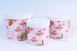 Набор подарочных коробок из 3шт -  Цилиндр Павлины на розовом   В23