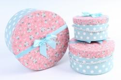 Набор подарочных коробок из 3шт- Цилиндр розовая крышка/белый горох на голубом К48