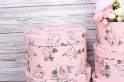 Набор подарочных коробок из 5шт- Цилиндр Розы на розовом d=32, h=20см Т418