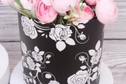 Набор подарочных коробок из 3шт- Цилиндр Розы трафарет черные d=18, h=17см Т429