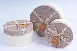 Набор подарочных коробок из 3шт- Цилиндр с кружевной лентой бежевый