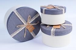 Набор подарочных коробок из 3шт- Цилиндр с кружевной лентой серый