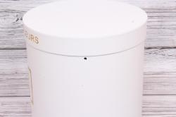 Набор подарочных коробок из 3шт- Цилиндр с золотой рамкой белый d=23, h=24см Т420