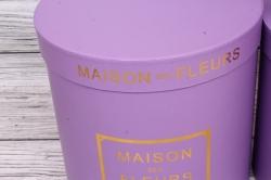 Набор подарочных коробок из 3шт- Цилиндр с золотой рамкой сирень d=23, h=24см Т420