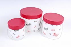 Набор подарочных коробок из 3шт- Цилиндр Сердца красно/черные    D35