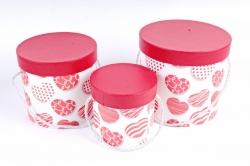 Набор подарочных коробок из 3шт- Цилиндр Сердца микс  D35