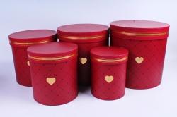 Набор подарочных коробок из 3шт- Цилиндр в ромбик красный