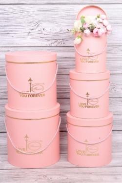 Набор подарочных коробок из 3шт- Цилиндр золотой фонарь розовый d=24, h=26см Т424
