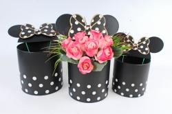 Набор подарочных коробок из 3шт- Цилиндр  Микки Маус черный в горох