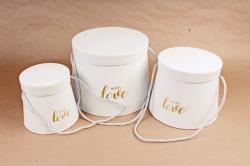 Набор подарочных коробок из 3шт -  Цилиндр-трапеция белый  W7427