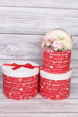"""Набор подарочных коробок из 3шт -  """"Цилиндры-конфетки"""" красный  26,5х20 см  5570М"""