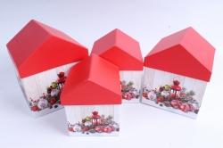 Набор подарочных коробок из 4шт -   Домик НГ Фонарь, Шары   SY4011-1601NG