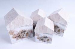 Набор подарочных коробок из 4шт -   Домик НГ Композиция на белом   SY4011-1619NG