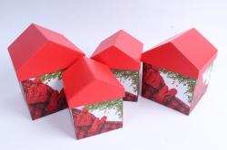 Набор подарочных коробок из 4шт -   Домик НГ Красная крышка SY4011-1607NG