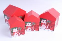 Набор подарочных коробок из 4шт -   Домик НГ Красные Шары SY4011-1621NG