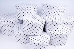 """Набор подарочных коробок из 10шт -  """"Круг большой""""  Клетка точка на белом  К315"""