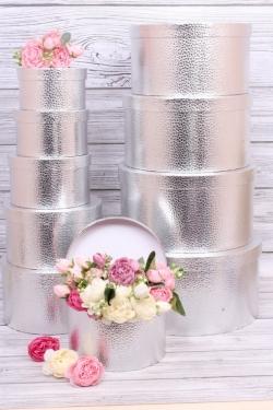 Набор подарочных коробок из 10шт -  Круг большой  металл серебро  34*34*18см К256