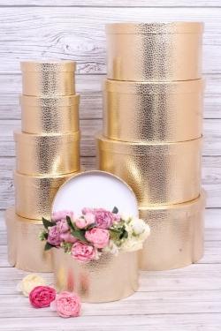 Набор подарочных коробок из 10шт -  Круг большой  металл золото  34*34*18см К256
