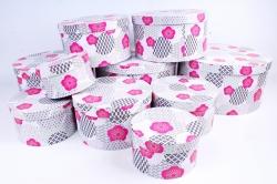 """Набор подарочных коробок из 10шт -  """"Круг большой""""  Петуньи малиновые К315"""