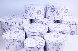 """Набор подарочных коробок из 10шт -  """"Круг большой""""  Веточки лаванды на белом  К220, 315"""