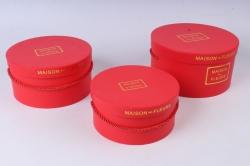 Набор подарочных коробок из 3шт- Круг красный К91