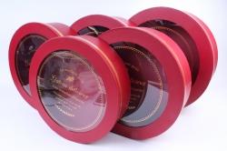 Набор подарочных коробок из 5шт- Круг с прозрачной крышкой красный  G42