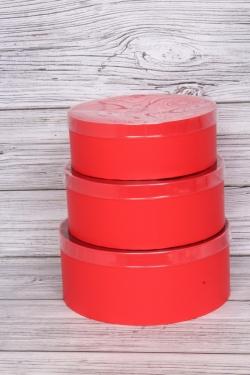 Набор подарочных коробок из 3шт -Круг с прозрачной крышкой красный d=26, h=11см В482