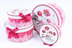 Набор подарочных коробок из 4шт -  Круг  Маки    H5182-D289